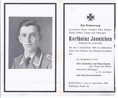 Wz-hoki-219 - Saarbrücken  -  Sterbebild  Fähnrich  Luftwaffe - Karlheinz Jaenichen Fliegertot  1943 - 19 Jahre - Documents Historiques