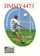 """CPM - RUGBY - Coupe Du Monde 2007 - Transformation - Timbre """" Essai """" émis Par La Poste. Licencié Officiel - Rugby"""