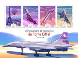 Guinea Bissau 2014  Eiffel Tower, Concorde  Airplanes - Guinea-Bissau