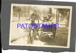 106385 REAL PHOTO MOTORCYCLE MOTO WITH SIDECAR 6 X 8.5 CM PHOTO NO POSTAL POSTCARD - Motos