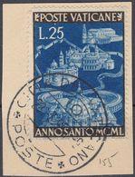 VATICANO - 1950 - Yvert 155 Usato, Su Frammento Di Busta, Come Da Immagine. - Vaticano