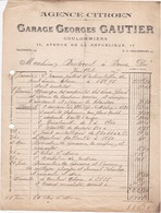 77 COULOMMIERS   Agence CITROEN Garage Georges GAUTIER 11 Av.de La République .Facture De 1927 - Coulommiers