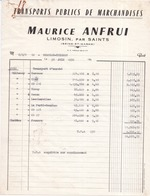 77 SAINTS .Transports Publics De Marchandises Maurice ANFRUI à Limosin Facture De 1972 - France