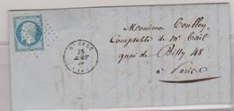 N°14 T I Sur Lettre De Ruffec (15), Losange Pc 2758,  TAD Type 15, 25/08/1858 - 1849-1876: Période Classique