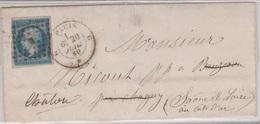 N°14 T I Sur Lettre De PARIS G, Losange G Baton,  TAD Type 17, 20/07/1860 - 1849-1876: Période Classique