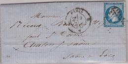 N°14 T I Sur Lettre De PARIS B,  TAD Type 17, 09/04/1858 - 1849-1876: Période Classique