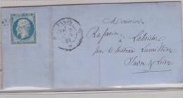 N°14 T I Sur Lettre De PARIS B,  TAD Type 17, 02/06/1858 - 1849-1876: Période Classique