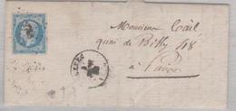 N°14 T I Sur Lettre De Ruffec (15), Losange Pc 2758,  TAD Type 15, 04/09/1858 - 1849-1876: Période Classique