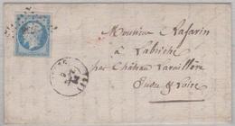 N°14 T I Sur Lettre De Ruffec (15), Losange Pc 2758,  TAD Type 15, 09/09/1858 Pour Château-La-Valliere - 1849-1876: Période Classique