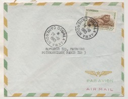 CAMEROUN 1965  - PARC NATIONAL DE WAZA, UN LION - CACHETS MANUELS DOUALA AKWA - VOIR LE SCANNER - Cameroon (1960-...)