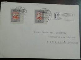 O) 1933 LITHUANIA, SWALLOW SCT C38 40c, REGISTERED FROM MARIJAMPOLE TO KAUNAS - Lithuania