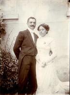 Tirage Photo Albuminé Originale Mariage Et Couple De Mariés - Pierre Morellet Et Sa Jeune Femme Vers 1900 - Photos