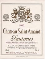 SAUTERNES CHATEAU SAINT-AMAND 1990 (4) - Bordeaux