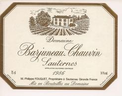 SAUTERNES CHATEAU BARJUNEAU  CLAVIN 1986 (4) - Bordeaux