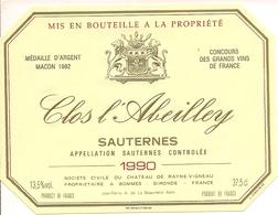 SAUTERNES CLOS L'ABEILLEY 1990 (4) - Bordeaux