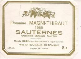 SAUTERNES  DOMAINE MAGNI-THIBAUT 1988 (4) - Bordeaux