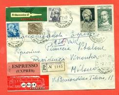 STORIA POSTALE -RACCOMANDATA ESPRESSO  DA CASTANO PRIMO PER MILANO-ERINNOFILIA-1963 - 6. 1946-.. Repubblica