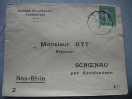 Liberation Alsace Seutz Cachet Obliteration Provisire Francaise Lettre Timbre Semeuse 15 C - Guerre De 1914-18