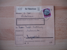 Occupation Alsace  Bad Niederbronn    Recu Colis Postal  Timbre Surcharge Elsass - Marcophilie (Lettres)