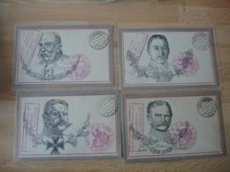 Lot De 4  Carte Portrait Generaux Allemand  Acheminement Par Autorite Militaire  Retour Envoyeur Mulhausen - Guerre De 1914-18