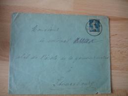 Liberation Alsace Huningue Cachet Provisoire Francaise Sur Lettre Timbre Semeuse - Guerre De 1914-18