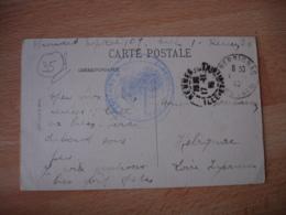 Rennes Hopital Temporaire 107 Cachet Franchise Postale Militaire Guerre 14.18 - Guerre De 1914-18