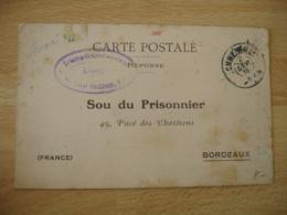 Sou Du Prisonnier  Camp Prisonnier Prisonnier Puchheim Cachet Censure Allemande - Guerre De 1914-18