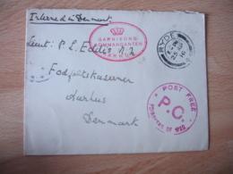 Guerre 14.18 , Garnisons Kommandanten Aarhus  Poste Free  Prisonners Of War De Ryde - Guerre De 1914-18