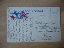 Guerre 14.18 Carte Franchise Drapeau Anglais France Laurier - Marcophilie (Lettres)