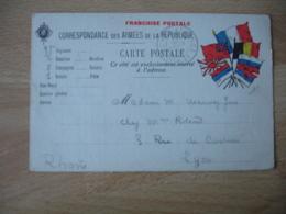 Guerre 14.18 Carte Franchise Armees Republiqueb6 Drapeaux Cote Droit - Guerre De 1914-18