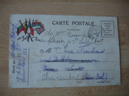 Guerre 14.18 Carte Franchise Militaire 5 Drapeaux Cote Gauche Tresor Et Postes 133 - Postmark Collection (Covers)