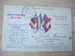 Guerre 14.18 Carte Franchise Militaire 5 Drapeaux  Centre Decret 3 Aout 1914 - Guerre De 1914-18