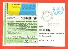 STORIA POSTALE -LOTTERIE-LOTTERIE-CARTOLINA DA CASALECCHIO DI RENO PER ROMA-AFFRANCATO CON L'APPENDICE DELLA G.F.1977- - 6. 1946-.. Repubblica