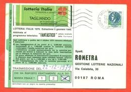 """STORIA POSTALE -LOTTERIE-LIRE 120 TURRITA 1979-NUOVA TIRATURA""""STAMPA GROSSOLANA""""-DA MONOPOLI PER ROMA - 1971-80: Storia Postale"""