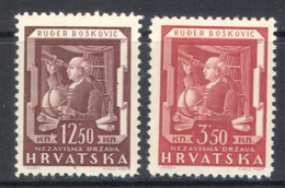 3034 ✅ Science Space Astronomy Telescope Boscovic 1943 Croatia 2v Set MNH ** - Astronomy