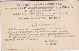 MILITARIA--RARE--54--NANCY--oeuvre Départementale De Secours Au Prisonniers De Guerre Civils Et Militaire--voir 2 Scans - Guerre 1914-18