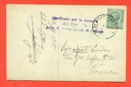 STORIA POSTALE REGNO- ANNULLO NAVE CONTE DI CAVOUR-CENSURE - CARTOLINA - 1915 - 1900-44 Vittorio Emanuele III