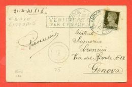 STORIA POSTALE REGNO- ANNULLO NAVE LITTORIO-CENSURE - CARTOLINA - 1941 - 1900-44 Vittorio Emanuele III