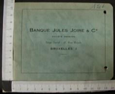 DH. 102. Livret De La Banque Jules Joire & Cie à Bruxelles - Documents Historiques