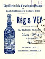 VEY  Distillerie Verveine Du Mézenc  LE PUY   Belle Illustration Bouteille              Maurin-Quina - Bills Of Exchange