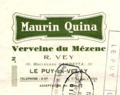 MAURIN QUINA  Verveine Du Mezenc  PUY En Velay         VEY - Bills Of Exchange