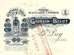 """GIBELIN-BELUT  Distillerie """"Gentiane Kola""""   LE PUY  43  Belle Illustration Bouteille - Bills Of Exchange"""