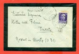 STORIA POSTALE REGNO- LETTERINA DOPO LA PARTENZA-DA CHERSO PER TRIESTE - 1936 - 1900-44 Vittorio Emanuele III