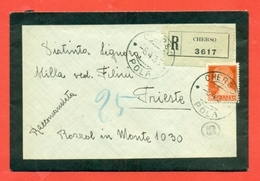 STORIA POSTALE REGNO- LETTERINA RACCOMANDATA-DA CHERSO PER TRIESTE - 1936 - 1900-44 Vittorio Emanuele III