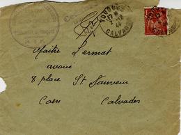 """1944- Pauvre Devant D'env. De Touques """" Commissariat  à L'Intérieur -centre De Séjour Surveillé De Bonneville S. Touques - Postmark Collection (Covers)"""