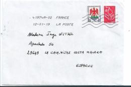 FS9230 / Frankreich,  Mischfrankatur Auf Brief 2019 (2 Marken, MARIANNE +NICE) - Lettres & Documents