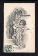 Ange,Angelot / Genre Viennoise,signée D'illustrateur Mais à Identifier ( Tranche De La Carte Argenté ) - Anges