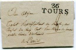 INDRE ET LOIRE De TOURS LAC Du 3/07/1798 Linéaire 37x14 Et Taxe De 8 Pour TALOT à PARIS+ Verso Dateur Arrivée - Marcophilie (Lettres)