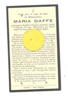 Faire-part De Décès De Melle Maria DAFFE  - CRUPET 1934 - Décès