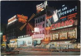 Paris: SIMCA ARONDE, RENAULT DAUPHINE, SCOOTER - 'Brasserie Des Touristes' - Moulin Rouge - Toerisme